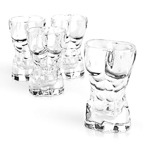 South Island Funny Man Shaped Shot Glasses 4 Pack   Shot Glasses for Bachelorette Parties