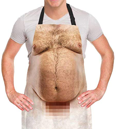 Funny Men Cooking Grilling Aprons Belly BBQ Funny Gag Gifts for Christmas, White Elephant Gift Exchange