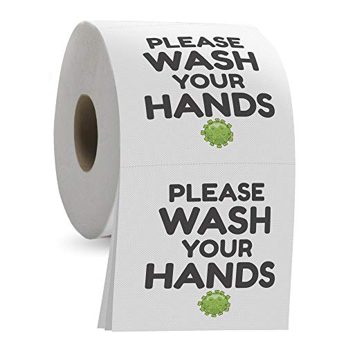 Please Wash Your Hands Toilet Paper - 3 Ply Bathroom Tissue with 200 Sheets in Each Roll - Funny and Useful Gag Toilet Paper