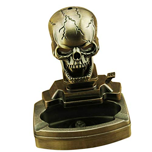 KESYOO Skull Shape Cigar Ashtray Novelty Cigarette Ash Container Retro Ash Holder with Lighter Decorative Tabletop Ornament for Indoor Home Office