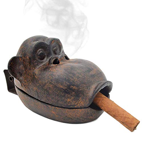 Cigar Ashtrays Outdoor for Patio, Home Office Countertop Decor Ash Holder Large Ash Tray, Cast Iron Funny Monkey, Best Gift for Smoker