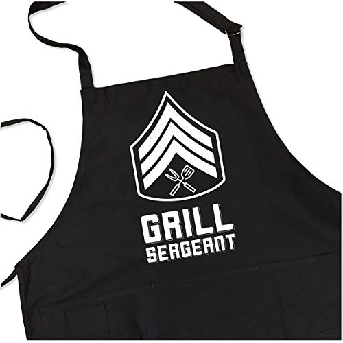 ApronMen, Grill Sergeant BBQ Grill Adjustable Apron for Men, Black, One Size