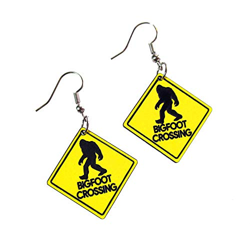 Yellow Bigfoot Crossing Sign Funny Cryptozoologist Dangle Earrings