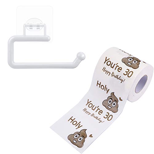30th 40th 50th Birthday Novelty Toilet Paper Ornaments Happy Prank Birthday Gag Present Funny Birthday Party Decoration Supplies with 1 Paper Towel Rack, 3 Layers Paper Roll for Men and Women (30th)
