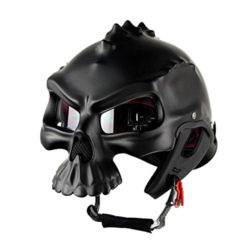 U/D Half Helmet Bicycle, Open Face Helmet Skull Cap, Quick Release Buckle and Built-in Goggles, for Bike Cruiser Chopper Moped Scooter ATV-Black_A_M