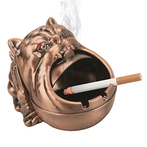 LAUYOO Barking Dog Metal Ashtray with Lid Vintage Cigarettes Ashtray for Outdoors Indoors Smoking Ash Tray for Home Office Decoration Desktop Ash Holder for Smoker-Red Copper