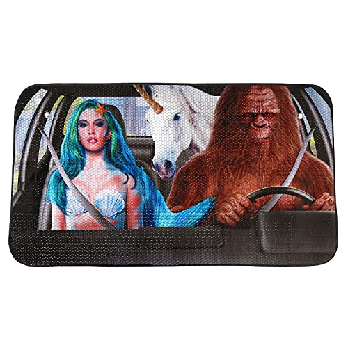 WHAT ON EARTH Mythical Creatures Car Sun Shade - Funny Mermaid, Bigfoot and Unicorn Windshield Screen Sunshade Cools Vehicle Interior - 51' x 27.56'
