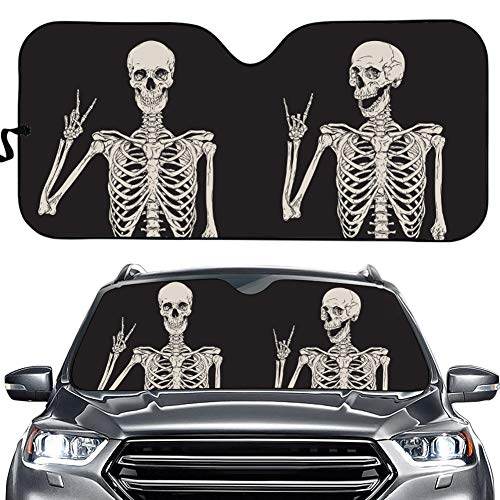 Funny Skull Car Windshield Sunshade Gothic Hippie Skeleton Sun Visor Protector Front Window Shade, Keeps Out UV Rays, Keeps Your Vehicle Cool, Black