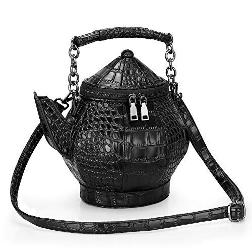 Gothic Purse, Teapot Shaped Crossbody Handbag Novelty Witchy Gift Top-handle Funky Tote Women's Shoulder Bags