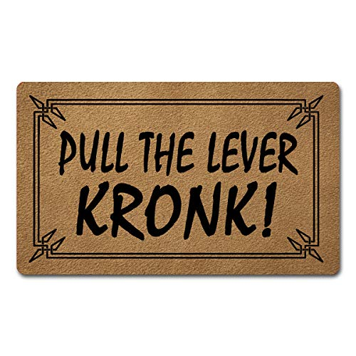 Funny Welcome Mat with Rubber Back 30'(L) x 18'(W)Pull The Lever Kronk Funny Doormat With Saying for Entrance Way Indoor Decor Mats for Front Porch Door Mat No Slip Kitchen Rugs and Mats Novelty Gift