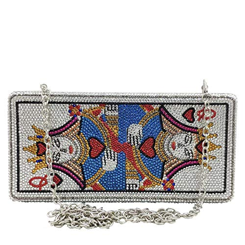 Novelty Poker Card Queen Evening Bags and Clutches for Women Crystal Clutch Bag Rhinestone Handbags Party Purse (Small,Queen)