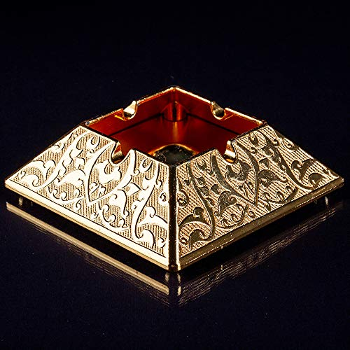 Vintage Fancy Cigar Ashtray for Cigarettes Weed Outdoor Ash Tray for Patio Indoor Home Balcony Ashtrays Smoker Cool Cute Gold Decorative Unique Small Stainless Gift for Women Men Accessories
