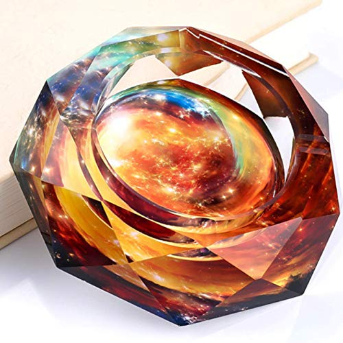 Glass Ashtray Cool Crystal Ash Tray For Cigarettes And Cigars Outdoor Indoor and Home Galaxy Design