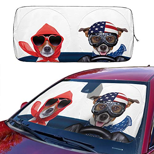 Car Sun Shade for Windshield Cute, Car Front Window Sunshades Foldable Cartoon Cool Sun Visor Shield Car Sunshade Cover Baby for Most Sedans SUV Truck Pickup Protect Your Vehicle from UV Heat