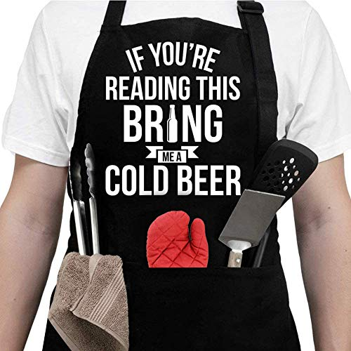 Aprons For Men With Pockets - Christmas Gifts For Men, Dad -Birthday Gifts for Men, Dad, Husband, Boyfriend, Him - Grill Cooking BBQ Kitchen Chef Apron