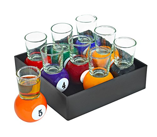 Fairly Odd Novelties Billiards Pool Ball Shot Glasses, Set of 9 Fun Sports Bar Drinking Gift Pack, One Size (Pack of 9)