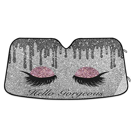 YiGee Eyeshadow with Hello Gorgeous Car Windshield Sun Shade - Blocks UV Rays Sun Visor Protector, Sunshade to Keep Your Vehicle Cool and Damage Free, Easy to Use, Fits Windshields of Various Sizes