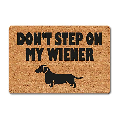 ZXQL Funny Welcome Doormat Personalized Mats Don't Step On My Wiener Funny Welcome Dogs Rug Dachshund Hello Mat Doormat Monogram Novelty Gift Doormat Rubber Backing Anti-Slip Mats(15.9 x 23.7 inch)